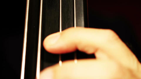 Musician and Double Bass 11 fingerboard extreme closeup Stock Video Footage