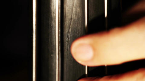 Musician and Double Bass 14 fingerboard extreme closeup Stock Video Footage