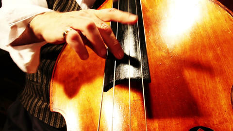 Musician and Double Bass 22 playing jazz wide low angle Stock Video Footage