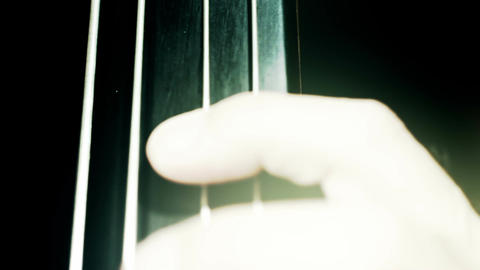 Musician and Double Bass 34 fingerboard extreme closeup... Stock Video Footage