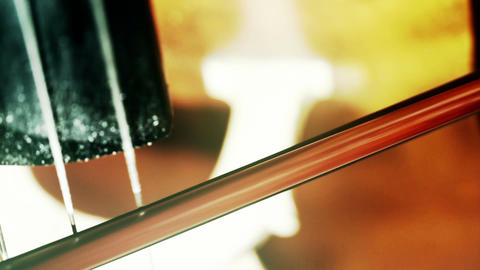 Musician and Double Bass 36 extreme closeup focus change... Stock Video Footage