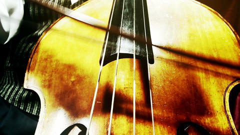 Musician and Double Bass 38 wide low angle stylized artcolored Footage