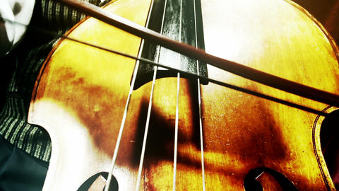 Musician and Double Bass 38 wide low angle stylized... Stock Video Footage
