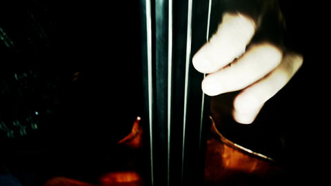 Musician and Double Bass 40 wide high angle stylized... Stock Video Footage