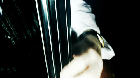 Musician and Double Bass 42 wide high angle stylized... Stock Video Footage