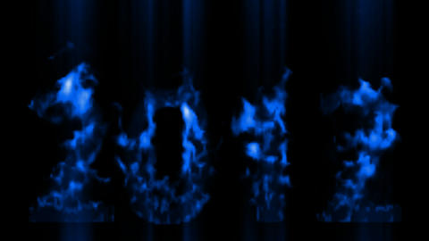 happy new year 2012,numbers 2012 burning with blue flame and smoke Animation