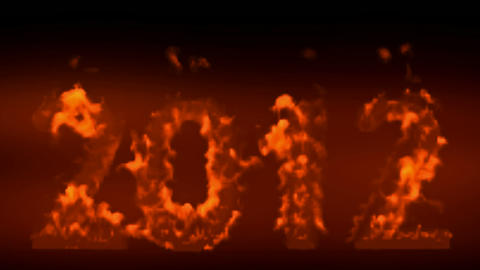 happy new year 2012,numbers 2012 burning with flames on... Stock Video Footage