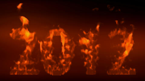 Happy New Year 2012,numbers 2012 Burning With Flames On Black Background stock footage
