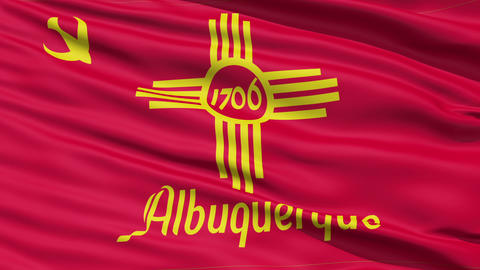 American State City Flag of Albuquerque Stock Video Footage