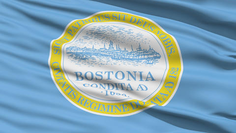 American State City Flag of Boston Stock Video Footage