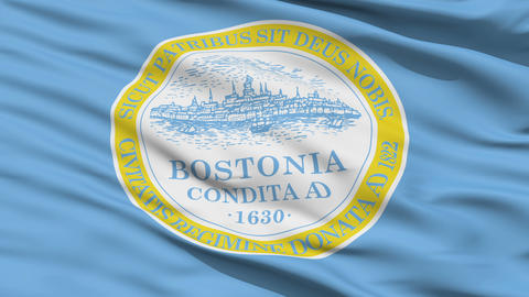 American State City Flag of Boston Animation