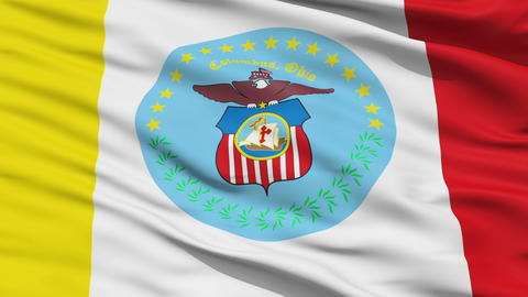 American State City Flag of Columbus Animation