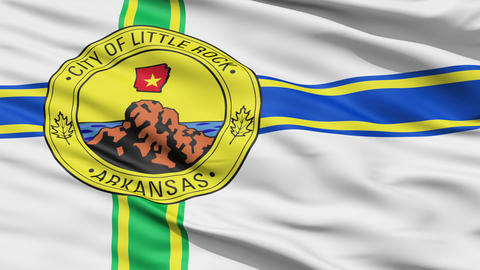 American State City Flag of Littlerock Arkansas Animation
