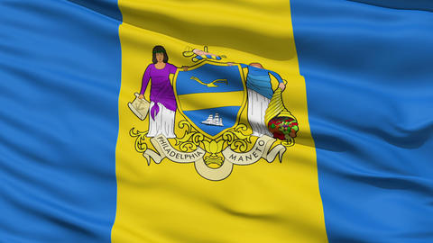 American State City Flag of Philadelphia Stock Video Footage