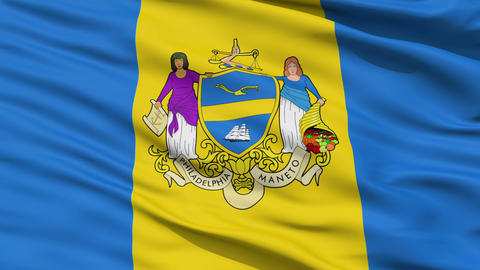 American State City Flag of Philadelphia Animation