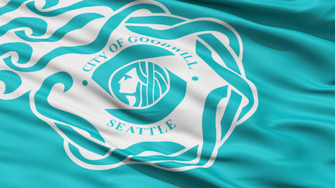 American State City Flag of Goodwill Seattle Stock Video Footage