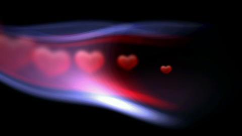 flying red hearts in path,Valentine's Day and wedding... Stock Video Footage