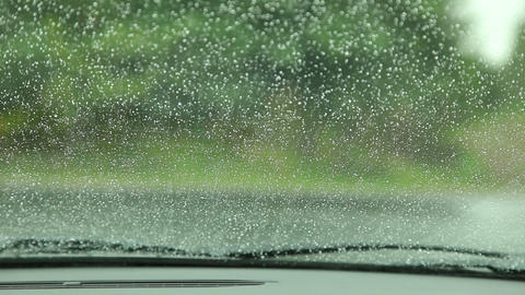 Rain Drops On Car Window stock footage
