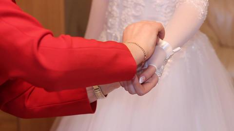 a wedding dress - gloves Footage