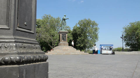 A monument to Duke de Richelieu in Odessa (Ukraine) Footage