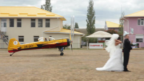 Landing Of Ukrainian Airplane stock footage