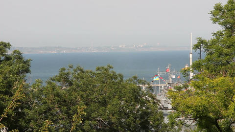 panorama of the port of Odessa Footage