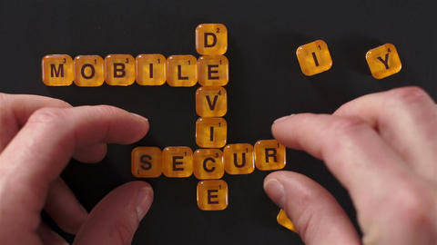 Letter Blocks Spell Mobile Device Security 影片素材