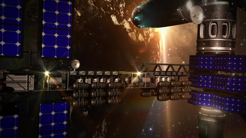 2X Wide Of CG Space Station (V1) stock footage