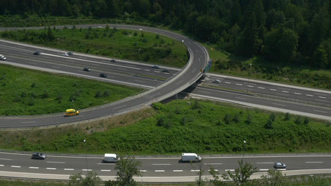 AERIAL: Flying above the highway intersection Footage