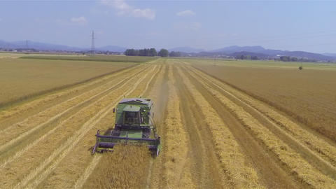 AERIAL: Loaded tractor with wheat drives away from Footage