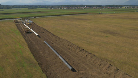 AERIAL: Pipeline construction with excavators Footage