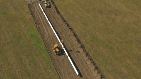 AERIAL: Big pipeline construction Live Action