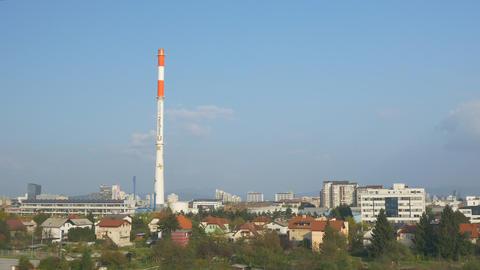 AERIAL: Big industrial chimney Footage