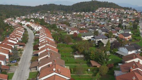 AERIAL: Suburban Street Rows in Residential Neighb Footage
