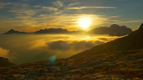 AERIAL: Sunset above the clouds on top of the moun Footage