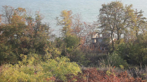 An Abandoned Building On The Black Sea stock footage