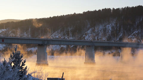 River Yenisei Bridge Winter Mist Footage