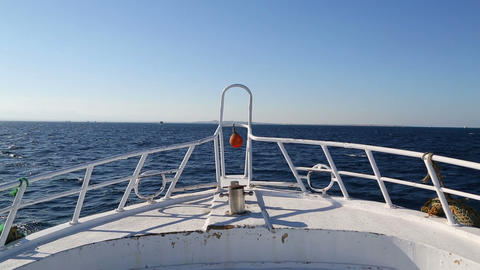 view on yacht bow floating on sea Footage