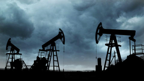 oil pumps silhouette against the background of Thu Footage