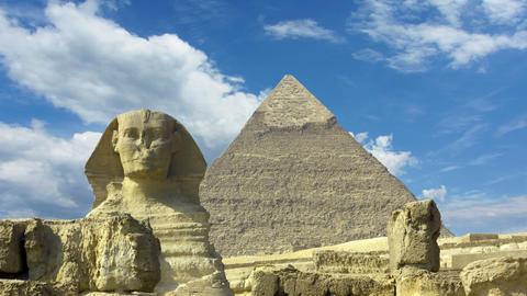 Clouds over great pyramid and sphinx in Egypt - ti Footage