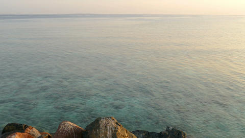 Landscape With Calm Sea At Dawn stock footage