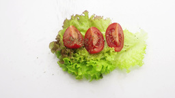 Tomato On Lettuce Sprinkle With Basil Slow Motion stock footage