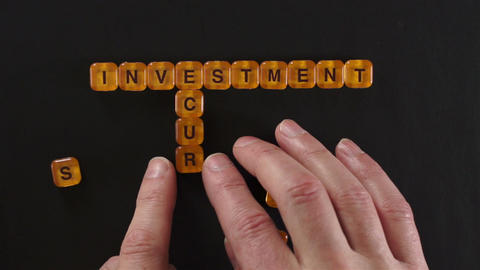 Letter Blocks Spell Investment Security Footage