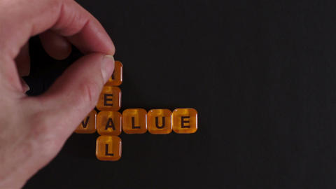 Letter Blocks Spelling Real Value Footage