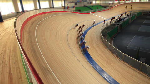 Cycling race Indoor track Footage