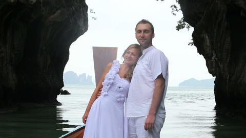 bride put her head on husband's shoulder Footage