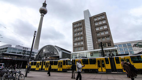 Timelapse of the Alexanderplatz in Berlin Footage