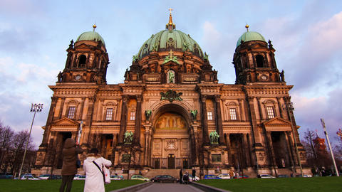 Timelapse of clouds mover over the Berliner Dom Footage