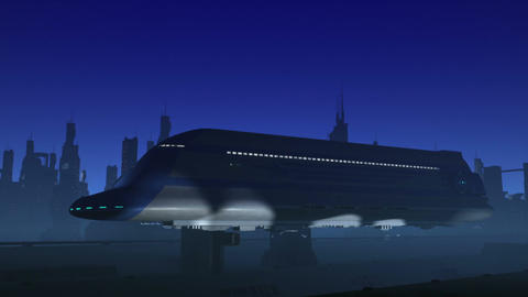 Space Passenger Liner Taking Off Animation