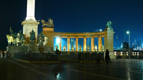 The Heroes Square in Budapest at night Live Action